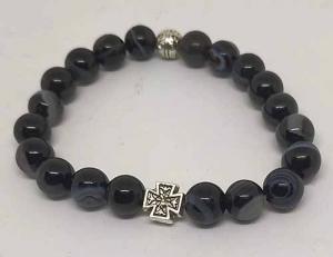 Чётки-браслет на резинке из натурального камня. Черный агат 20 зерен d=8 мм - купить в интернет-магазине