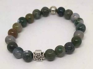 Четки-браслет на резинке из натурального камня: Яшма зеленая 20 зерен d=8 мм - купить в интернет-магазине