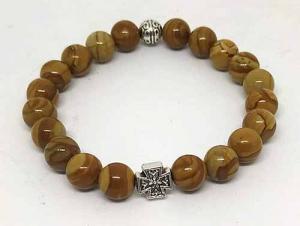 Четки-браслет на резинке из натурального камня: Яшма песчаная 20 зерен d=8 мм - купить в интернет-магазине
