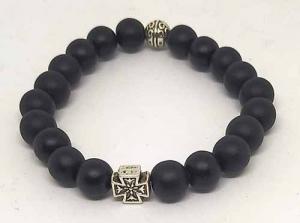 Четки-браслет на резинке из натурального камня: Шунгит 20 зерен d=8 мм - купить в интернет-магазине