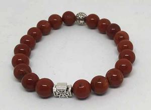 Четки-браслет на резинке из натурального камня: Яшма красная 20 зерен d=8 мм - купить в интернет-магазине
