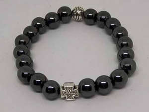 Четки-браслет на резинке из натурального камня: Гематит 20 зерен d=8 мм - купить в интернет-магазине