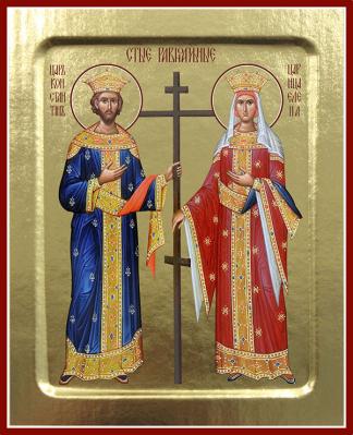 Икона равноапостольных Константина и Елены на дереве: 125 х 160 - купить в интернет-магазине