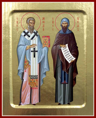 Икона святых учителей Кирилла и Мефодия на дереве: 125 х 160 - купить в интернет-магазине