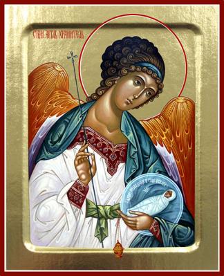 Икона Ангела Хранителя (с младенцем) на дереве: 125 х 160 - купить в интернет-магазине