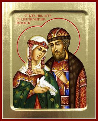 Икона благоверных Петра и Февронии Муромских (с голубем) на дереве: 200 х 157 - купить в интернет-магазине