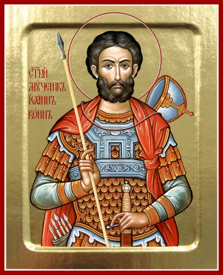 Икона мученика Иоанна Воина на дереве - купить в интернет-магазине