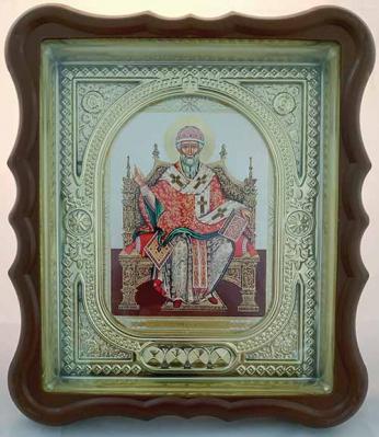 Икона святителя Спиридона Тримифунтского в рамке: стекло - купить в интернет-магазине
